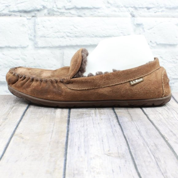 LL BEAN Suede Wicked Good Moc Slippers Size 12 M